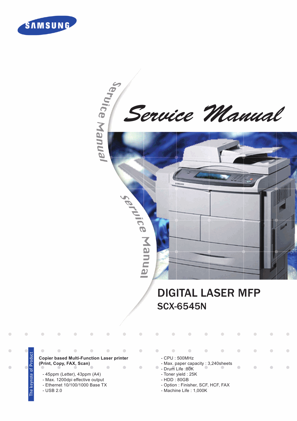 Samsung Digital-Laser-MFP SCX-6545N Parts and Service Manual-1